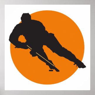 ice hockey silhouette orange circle design poster