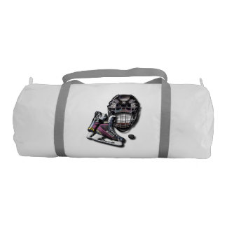 Ice Hockey Skates Helmet Puck With Name And Number Gym Duffel Bag