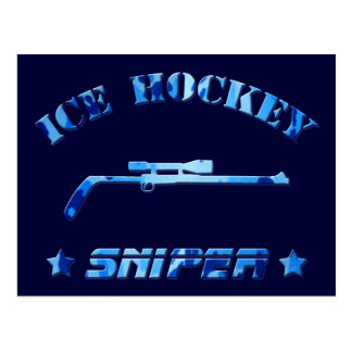 Ice Hockey Sniper blue camo Postcard