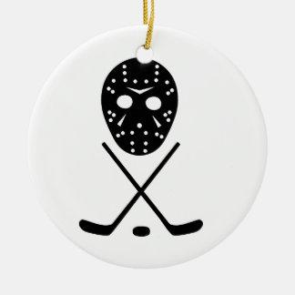 Ice Hockey Sticks and Mask Round Ceramic Decoration