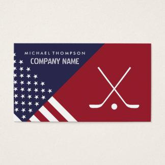 Ice Hockey Sticks On United States Flag Background