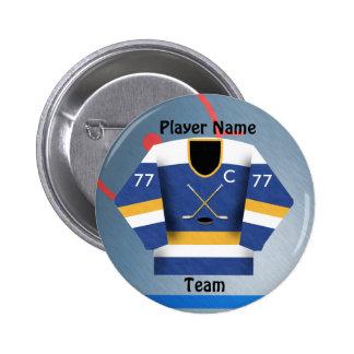 Ice Hockey Team Jersey Button