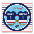 Ice Hockey Twins Jersey V2 1st Birthday Party Card