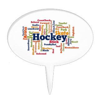 Ice Hockey Word Cloud Cake Pick