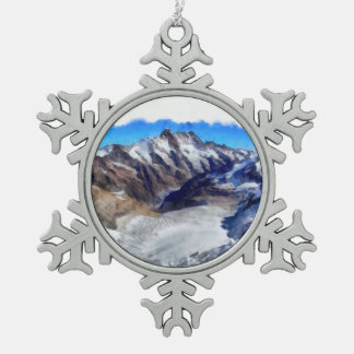 Ice in the towering Swiss Alps Pewter Snowflake Decoration