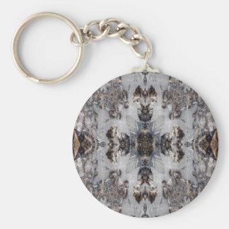 Ice kaleidoscope pattern basic round button key ring