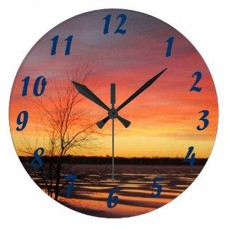 Ice Lake Sunset Clock
