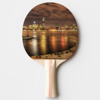 Ice partially melted on Charles River in Boston Ping Pong Paddle
