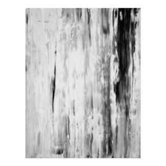 'Ice Pick' Black and White Abstract Art Poster