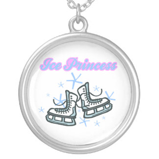 ice princes snowflakes and ice skates design round pendant necklace