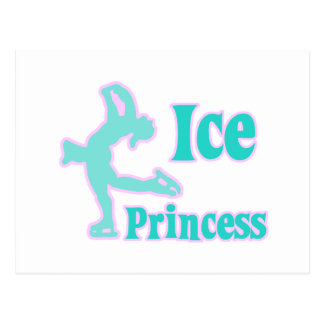 ice princess figure skating pastel design postcard