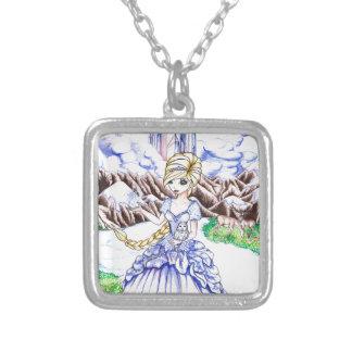 Ice Princess Square Pendant Necklace