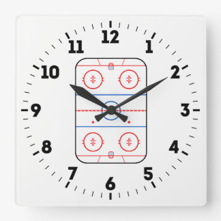 Ice Rink Diagram Hockey Game Decor on a Square Wall Clock