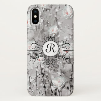 Ice rose monogram phone case