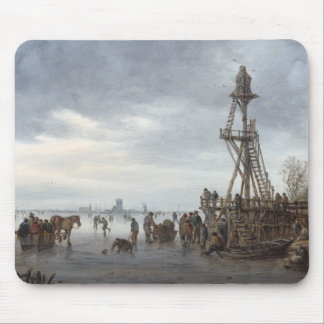 Ice Scene near a Wooden Observation Tower Mouse Pad