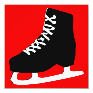 ice skate 13 cm x 13 cm square invitation card