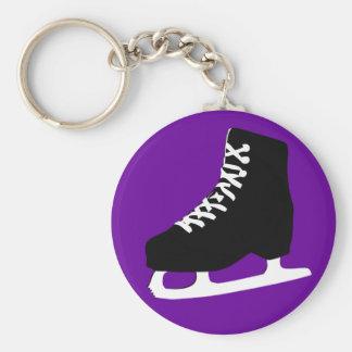 ice skate basic round button key ring