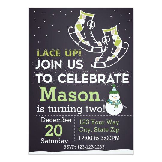 Ice Skate Birthday Invitation (green)