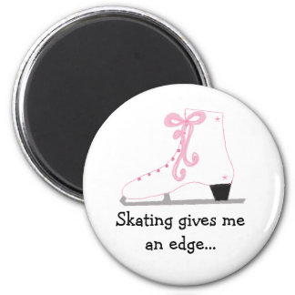 Ice Skate with Saying 6 Cm Round Magnet