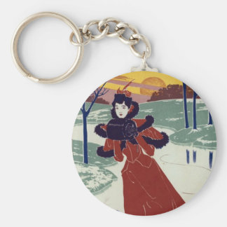 Ice Skater Basic Round Button Key Ring