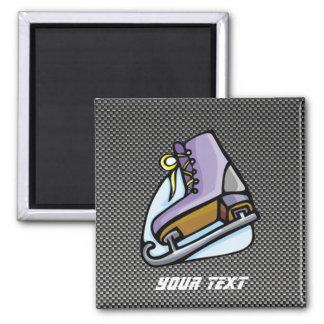 Ice Skater; Faux Carbon Fiber Square Magnet
