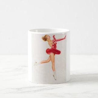 Ice Skater in Red. Pin Up Art Basic White Mug
