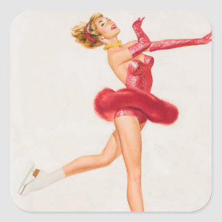 Ice Skater in Red. Pin Up Art Square Sticker