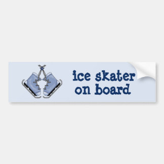 Ice Skater on Board Bumper Sticker
