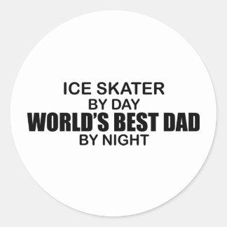 Ice Skater World's Best Dad by Night Round Stickers