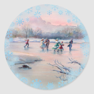 ICE SKATERS by SHARON SHARPE Round Sticker