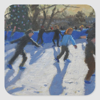 Ice skaters Christmas Fayre Fair Hyde Park Square Sticker