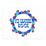 Ice Skaters Rock Red Stars Postcards
