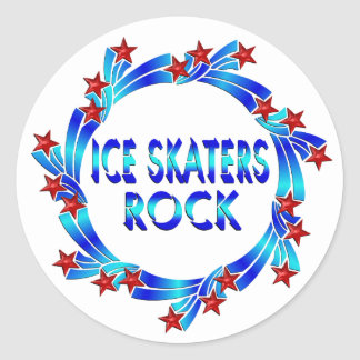 Ice Skaters Rock Red Stars Stickers