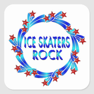 Ice Skaters Rock Red Stars Square Sticker