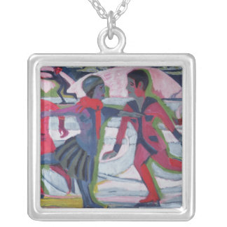 Ice Skaters Silver Plated Necklace