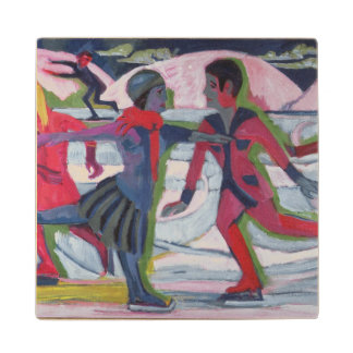 Ice Skaters Wood Coaster