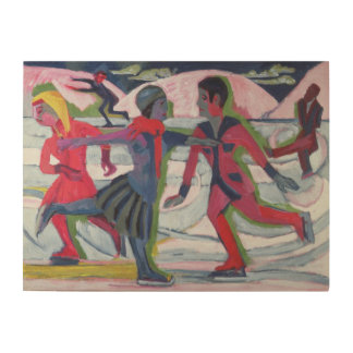 Ice Skaters Wood Wall Art