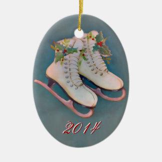 Ice Skates 2014 Ceramic Oval Decoration