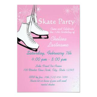 Ice Skates and Snowflakes Birthday 13 Cm X 18 Cm Invitation Card