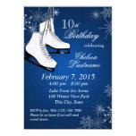 Ice Skates and Snowflakes Blue Birthday 13 Cm X 18 Cm Invitation Card