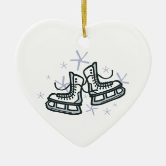 ice skates and snowflakes graphic christmas ornament