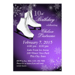 Ice Skates and Snowflakes Purple Birthday 13 Cm X 18 Cm Invitation Card