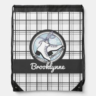 Ice Skates and Snowflakes Tartan Pattern Cute Drawstring Bag