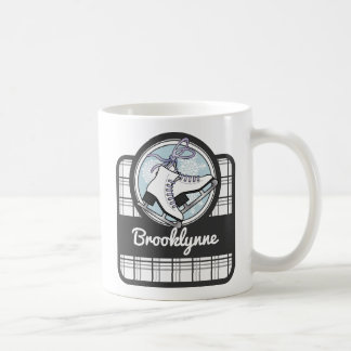 Ice Skates and Snowflakes Tartan Pattern Name Cute Coffee Mug