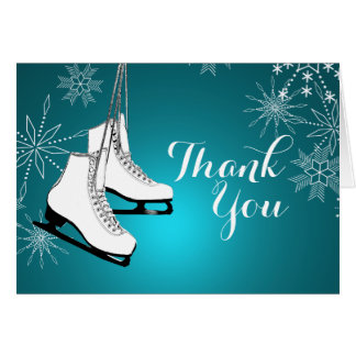 Ice Skates and Snowflakes Thank You Note Card