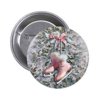 ICE SKATES in PINK by SHARON SHARPE 6 Cm Round Badge
