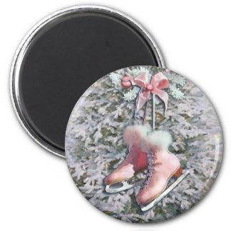 ICE SKATES in PINK by SHARON SHARPE Refrigerator Magnets