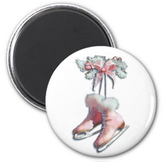 ICE SKATES in PINK by SHARON SHARPE Magnets