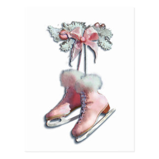 ICE SKATES in PINK by SHARON SHARPE Post Cards