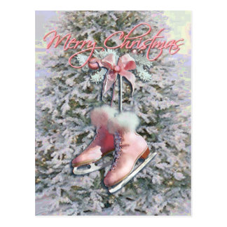 ICE SKATES in PINK by SHARON SHARPE Postcards
